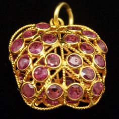 Apple Pendant 18k Yellow Gold with Caged Garnets Vintage