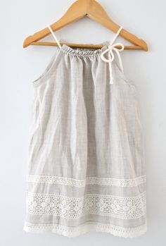 Sibling Outfits:   Toddler Girls Pure Natural Linen and Lace DressBaby by ChasingMini