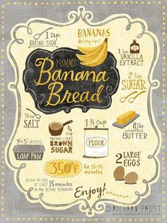 ©Richard Faust 'Banana Bread Recipe' - Recipes, tips and everything related to cooking for any level of chef. Recipe Drawing, Sugar Bread, Food Journal, Food Drawing, Banana Bread Recipes, Easy Banana Bread, Food Illustrations, Recipe Cards, Food Art