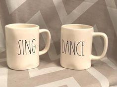 2 NEW Rae Dunn SING & DANCE Mugs by Magenta, Perfect Valentine's Day Gift!!!! #RaeDunn