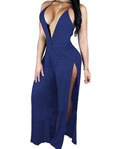 e51b9cee095 Amazon.com  PEGGYNCO Womens Blue Twist Abdomen Backless Thigh High Slit  Party Jumpsuit Size L  Clothing