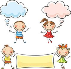 Little kids with speech bubbles and a paper sheet. Drawing For Kids, Art For Kids, Free Coloring Pictures, School Board Decoration, Derwent Pencils, Pizza Art, Kids Graphics, Finger Art, Splash Photography