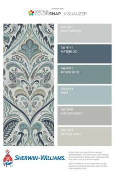 Main level color palette I was thinking of Rain for the living room and Gray Screen for bathroom. Interior Paint Colors, Paint Colors For Home, House Color Schemes Interior, Basement Paint Colors, Paint Colours, Office Paint Colors, Farmhouse Paint Colors, Kitchen Paint Colors, Basement Color Schemes
