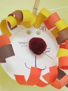 photo of: Zoo art project on paper plate for preschool, craft project for zoo theme