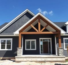 Exterior Paint Colors For House, Navy House Exterior, Exterior Colors, Navy Houses, Ranch Remodel, House Front, Front Porch, Modern Farmhouse Exterior, House Siding