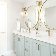 Double Vanity Bathroom - Bathroom with light blue cabinets. - Double Vanity Bathroom – Bathroom with light blue cabinets. Gorgeous Bathroom, Blue Cabinets, Double Vanity Bathroom, Home Remodeling, Cheap Home Decor, House Interior, Bathroom Interior, Coastal Interiors Design, Bathroom Decor