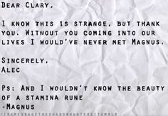 Imaginary letter from Alec to Clary