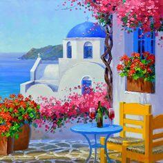 Romance in Santorini – Mikki Senkarik Landscape Art, Landscape Paintings, Greece Painting, Santorini, Mykonos Greece, Crete Greece, Athens Greece, Beautiful Paintings, Painting Inspiration