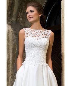 dad1cee50dee SHANNON - luxusné dlhé svadobné šaty s krajkovým zvrškom na ramienka a  saténovou sukňou Satin