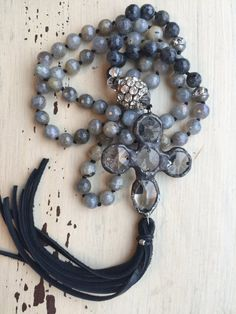 Luxe gemstone grey black leather tassel hand knotted cross