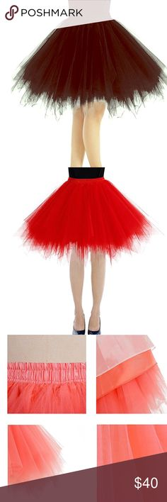 MiniPetticoat Tutu ThreeLayer Tull Skirt Bbonlinedress/Women's Mini Petticoat Tutu Three-Layer Tulle Ballet Bubble Skirt/ Color Black/ Red/ Size S-XL. Condiction New with tags! Skirts Midi