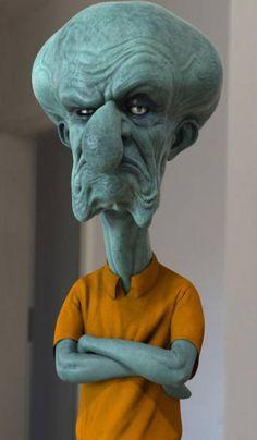 How cartoon characters would look in real life: Squidward From Spongebob Squarepants Cartoon Kunst, Cartoon Art, Cartoon Characters, Zombie Cartoon, Favorite Cartoon Character, Character Art, Realistic Cartoons, Famous Cartoons, 3d Artwork