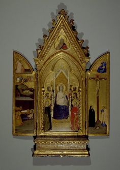 Maso di Banco (Italian, Florentine School, 1341-1346). Madonna with Saints and Scenes of the Life of Christ, portable altarpiece, ca. 1336. Tempera and tooled gold on poplar panel in original engaged frame, Center panel: 30 1/8 x 11 3/4 in. (76.5 x 29.8 cm). Brooklyn Museum, Gift of Mary Babbott Ladd, Lydia Babbott Stokes, and Frank L. Babbott, Jr. in memory of their father Frank L. Babbott, 34.838 (Photo: Brooklyn Museum, 34.838_SL3.jpg)