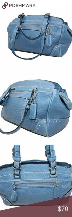 I just added this listing on Poshmark: Coach Satchel Style 5031 in Blue Pebbled Leather. Coach Handbags, Coach Purses, Purses And Handbags, Cheap Coach Bags, Coach Satchel, Hang Tags, Satchels, Pebbled Leather, Size 14