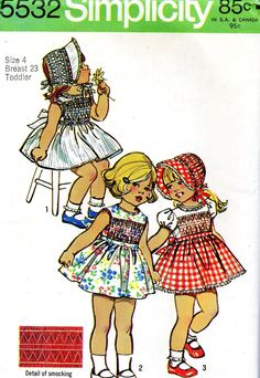 Simplicity 5532 Cute smocking pattern toddler dress