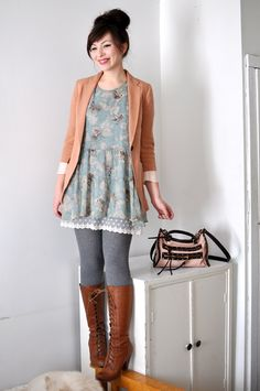 Fall Outfit:  dainty/romantic/girly/delicate dress, oversized blazer, grey/gray ribbed tights and lace-up boots. love the bright peach with light blue.