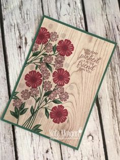 Beautiful Bouquet stamp set with Wood Textures DSP by Kate Morgan, Independent Stampin Up Demonstrator Australia #OnStage2017