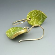 Contemporary polymer clay earrings in lime by StonehouseStudio, $35.00