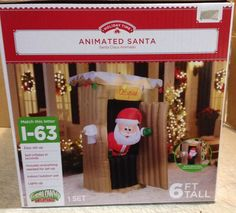 Animated Santa In Outhouse Gemmy Christmas Airblown Inflatable Yard Decor Prop Christmas Yard Decorations, Holiday Time, Santa, Animation, Lettering, Lights, Holidays, Ebay, Ideas