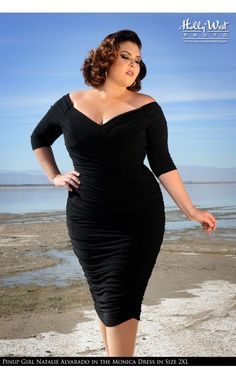 Laura Byrnes California- Monica Dress in Black Matte Jersey Knit - Plus Size | Pinup Girl Clothing