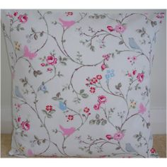 "New 14"" Cushion Cover ★ Birds and Butterflies Blue Pink Shabby Chic Bird Flowers 