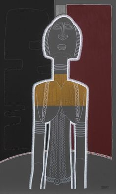 Dogon -03- Statue, masque, arts premiers, Afrique, portrait - Format tableau : 60 x 100 cm - Technique : Pigment naturel et peinture acrylique sur toile de lin - Description : Buste féminin de statue DOGON - Pièce d'origine :  Ethnie DOGON - Localisation (pays) : Mali - Datation : milieu 19ème.