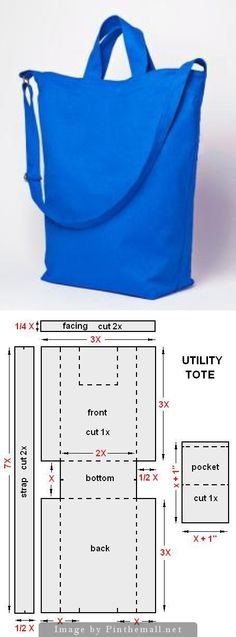 sew bag - utility tote tutorial and pattern - great instructions