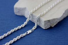 Sterling Silver Rope Chain Necklace Silver Rope by Alyssasdreams