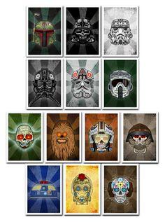 Star Wars Day of the Dead sugar skull collection by John Karpinsky via Etsy