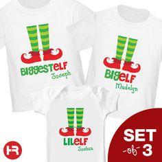 Elf Christmas Shirt - Big Brother Shirt, Big Sister Shirt, Little Brother Shirt, Little Sister - Biggest/Big/Lil Elf's Siblings Shirts. $48.00, via Etsy.
