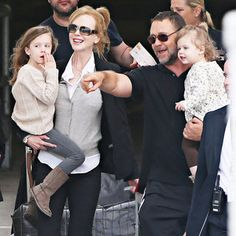 Nicole Kidman's two daughter's Sunday Rose and Faith Margaret (Daddy is country music star Keith Urban) show the importance of genetics in Hollywood. Already with glowing alabaster complexion, these girls are sure to grow up with movie star looks - and movie star contacts too! They are pictured with Nicole's friend actor Russell Crowe, who appears enraptured by the girls.