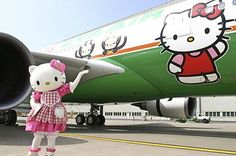 Hello Kitty Airlines! Currently flying betweenTaipei, Fukuoka, Narita, Sapporo, Incheon, Hong Kong and Guam!   This is wonderful. More photos and details at the link.
