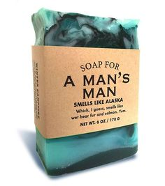Smells like Alaska. Or what you imagine Alaska smells like while you're watching reality TV and eating Cheetos on the recliner. We think it probably smells like wet bear fur and salmon, or a toasty ca