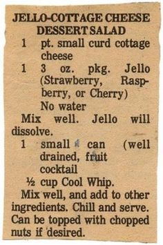 Blast from the past-October Jello Desserts, Jello Recipes, Dessert Salads, Fruit Salad Recipes, Old Recipes, Vintage Recipes, Fruit Salads, Jello Salads, Light Desserts