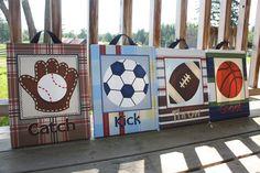 Set de 4 lienzos estampados arte de la pared Lil All Star MVP Sports Boys dormitorio 11 x 14 niños lona estirada