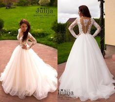 2016 Julija Lace Long Sleeves Wedding Dresses Princess Bohemian Deep V Neck Sexy A Line Beach Bridal Gowns Court Train Plus Size BridalDress