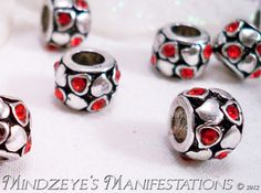 5 Red Crystal & SP Heart Adorned Euro Beads $5