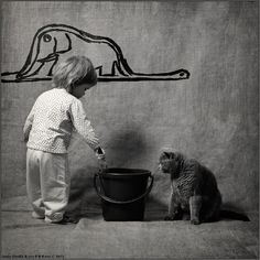 Sólo una niña y su gato