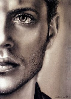 Dean Winchester Jensen Ackles Matted Watercolor by LainyArt Pencil Drawing Tutorials, Drawing Projects, Pencil Drawings, Charcoal Drawings, Hair Drawings, Pencil Sketching, Charcoal Portraits, Charcoal Art, Supernatural Drawings