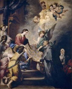 Aparición de la Virgen a san Ildefonso / The Apparition of the Virgin to Saint Ildefonso // Ca. 1655 // Murillo, Bartolomé Esteban #VirginMary
