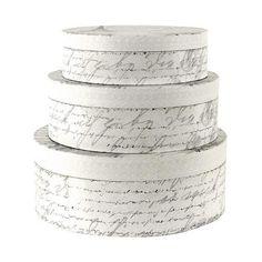 Nouveau Collection French Script Hat Boxes   Dunelm
