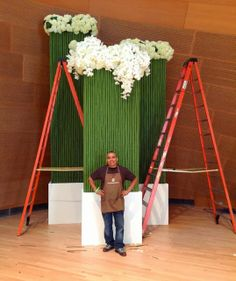 12' to 18' tall Bamboo Towers with hydrangea and cascading orchids.