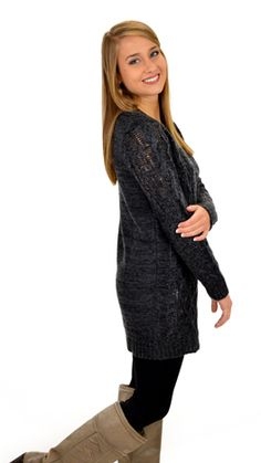 A sweater tunic that's long enough for leggings! Available in gray, purple, and orange today at shopbluedoor.com!