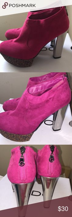 Funky Heels These booties are the life of the party! Suede magenta booties with animal print platform and silver heel. What more could you ask for? Lightly used. Very comfortable G by Guess Shoes Ankle Boots & Booties