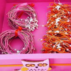Greek Orthodox Baptism Pins. Martyrika Pink bracelet martyrika and Orange Pins