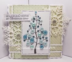 Todays card is made using the fab Bubble tree and matching sentiment by Woodware.A great stamp to add lots of bling to. Xmas Cards To Make, Homemade Christmas Cards, Christmas Makes, All Things Christmas, Christmas Time, Christmas Tree Flowers, Whimsical Christmas, Xmas Tree, Fall Cards
