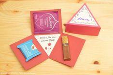 DIY 3-eckige Explosionsboxen selbst basteln - geschenke selbst machen, DIY-Geschenke, besondere Geschenke aus Papier basteln, Schritt-für-Schritt-Anleitung inkl. Vorlagen zum Ausdrucken als PDF-Dateien