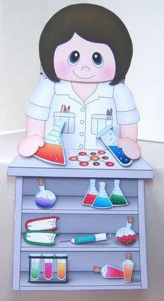 Card Gallery - 3D On the Shelf Card Kit - Little Scientist Lady Nadi