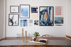 Switch up larger works with woven hangings, unframed pieces, and even free-floating shapes.