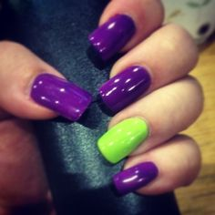 Acrylic nails with 2week polish Purple and neon green!